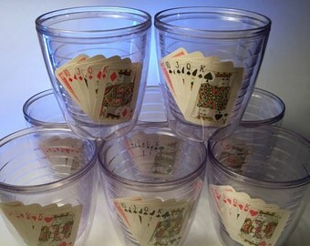 Set of eight insulated acrylic tumblers with playing cards