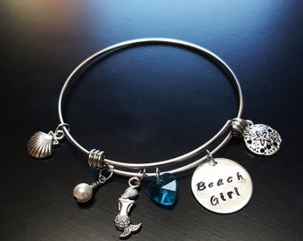 Beach Girl Bangle Bracelet-Swarovski Crystal Heart & Pearl-Hand Stamped Charm-Expandable-Great Gift Ideas