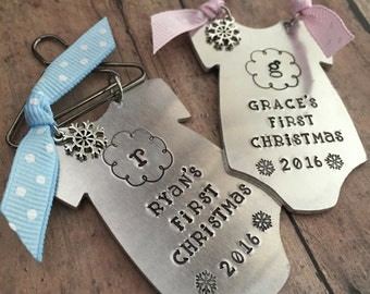 Baby's First Christmas Ornament, New Baby Ornament, New Baby Gift, Adoption Ornament, Gifts for Baby, Hand Stamped Christmas Ornament