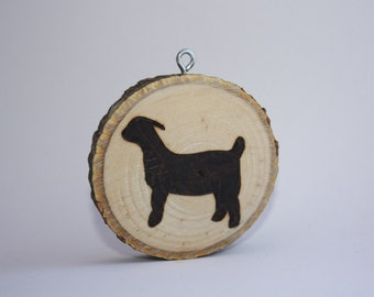 Personalized Hand Made Wood Burned Goat Magnet or Ornament