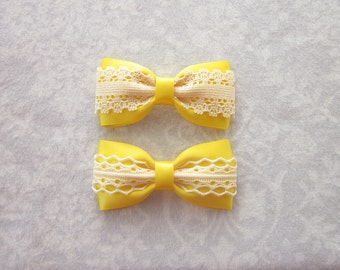 Bright Yellow Satin & Off-White Ivory Lace Bow, Girls Hair Accessory, Barrette, Ponytail, Clip, Toddler, School, Photos, Spring, Summer