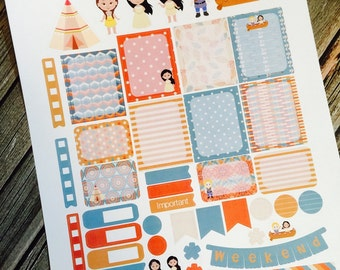 Indian Princess Pocahontas Weekly Planner Stickers Set, for use with Erin Condren Life Planner, Happy Planner