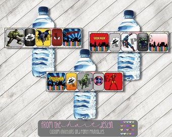 Printable Water Bottle Labels Superhero Avenger Comic Marvel Superhero Printable PDF File Thor Spiderman Batman Superman Hulk Iron Man
