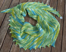 pistachio green - Dragon tail scarf with beads, asymmetrical, handknitted, unique