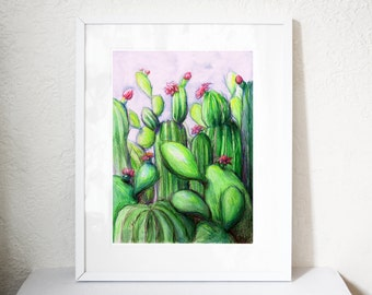 Cactus watercolour and pencils art print printed on giclee paper with archival inks