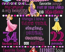 Disney Princess Birthday Chalkboard Poster DIGITAL FILE