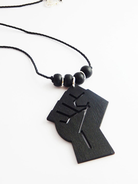 black necklace mens jewelry afrocentric handmade