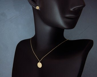 """Solid 14K Gold Disc Necklace   Handmade solid 14k gold 3/8""""(~9.5mm) disc necklace in Stardust finish"""
