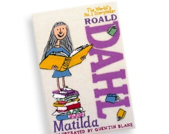 Matilda by Roald Dahl book clutch. Handmade book purse with hand-embroidery. Book lover gift. Literary gift