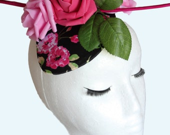 Pink Rose Hat; Floral Black and Pink Fascinator; Ostrich Quill; Races Hat; Ascot; Wedding; Floral Headpiece; Millinery; Artistic; Couture