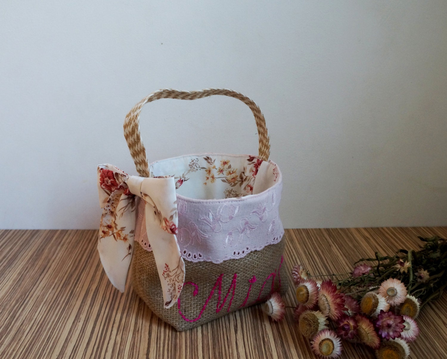 Flower Girl Baskets Burlap : Flower girl basket burlap pale pink eyelet embroidery