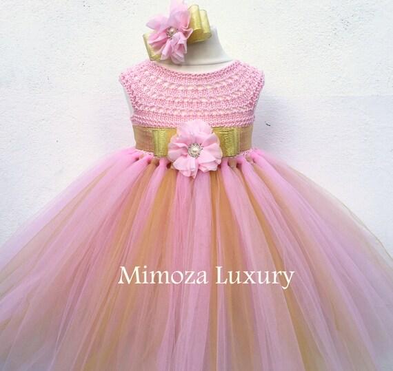 Pink and Gold Flowergirl dress, tutu dress, bridesmaid dress, princess dress, silk crochet top tulle dress, hand knit silk top tutu dress