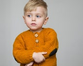 Hand knit toddler sweater with elbow patches, knitted kids sweater, mustard kids sweater, 3-3,5 years, warm chunky sweater, onward onward