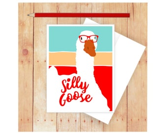 Funny Greeting Card, Silly Goose, Goose, Card for Kids, Glue, Cute Stationery, Funny Stationary, Thank You Card, Blank Cards