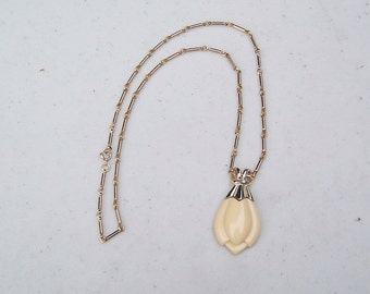 Vintage Sarah Coventry beige tulip pendant