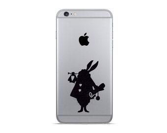 White rabbit  iPhone 6 Decals - iPhone 6 Plus Sticker - Fabric Decal - Alice In Wonderland Vinyl Stickers - Galaxy s6 decals - Nexus Sticker