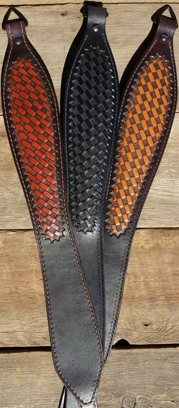 Basket Weave Pattern On Leather : Leather hand tooled rifle sling basket weave pattern choice