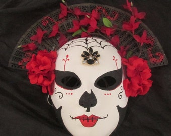 Women's Day of the Dead full face paper mache mask with attached headpiece