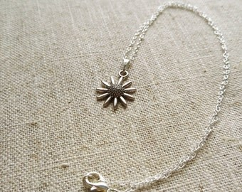 Tibetan Silver Sunflower Pendant Necklace on Sterling Silver Chain