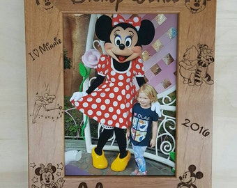 Disney World Mickey and Minnie Mouse Picture Frame 5x7 Custom Laser Engraved Frame, Tinker bell, Tigger, Winnie the Pooh, Disney