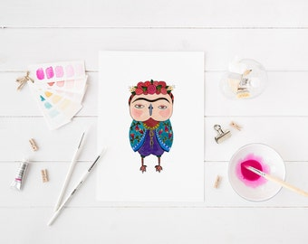 Frida Owl, Watercolor Art Print