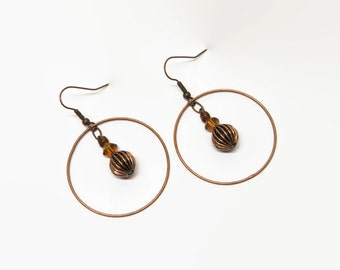 Boho Copper Hoop Earings, Amber Hoop Earrings, Copper Hoop Dangle Earrings