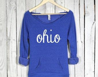 Ohio Shirt. Ohio Sweatshirt. Raw Neckline. Eco Fleece. Kangaroo Pocket. Alternative Apparel.