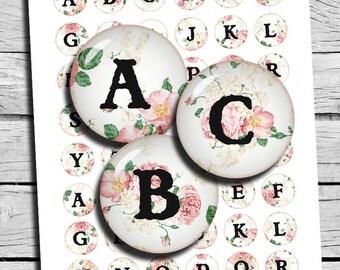 Floral Monogram Round 1 inch images  25mm 20mm Alphabet Letters Digital Collage Sheet Printable Download