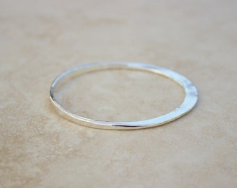 Double Forged Silver Bangle, Hammered Silver Bangle, Argentium Bangle, Silver Bangle, Bangle Sets, Handforged Silver Bangle