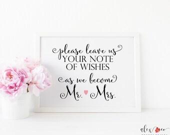 wedding wishes etsy