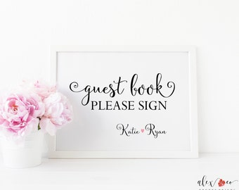 Personalized Guest Book Wedding Printable. Wedding Guestbook Sign. Reception Sign. Wedding Printables. Wedding Signs. Wedding Decorations.