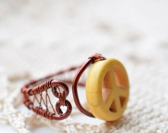 Yellow Peace Sign Ring