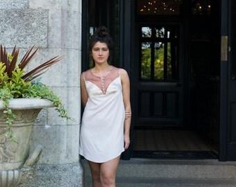 Minimalistic Vintage Inspired Lace Silk Dress