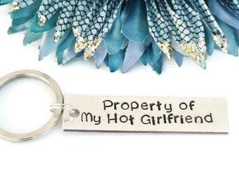 Property Of My Hot Girlfriend Hand Stamped Keychain | Boyfriend Gift | Gift For Him | Keychains For Boyfriend | Anniversary Gift