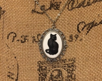 Black and White Cat Cameo Necklace - Distressed Resin, Curiosity, Oddity, Horror, Gothic, Macabre