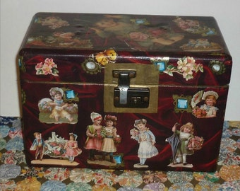 Vintage Doll Trunk - Decoupage Accents perfect Doll Clothes Storage - 11 x 6 1/2 x 7 1/2 Inches