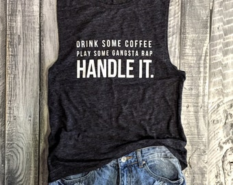 HANDLE IT Muscle Tee in Charcoal/White Workout Top, Muscle Tank