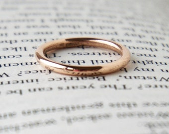 Rose Gold Wedding Band - Halo Ring - Thin Ring - Plain Band - 9 Carat Red Gold - Round Shape Ring