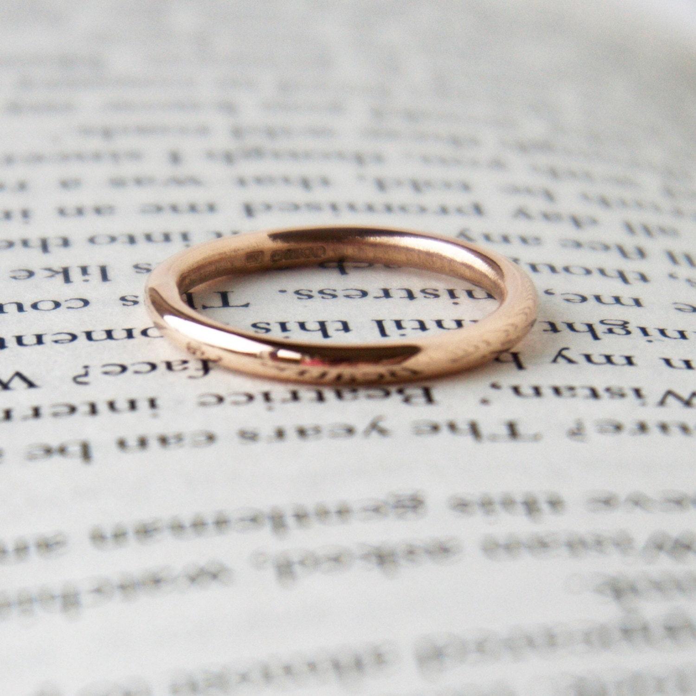 rose gold wedding band halo ring thin plain gold wedding bands Rose Gold Wedding Band Halo Ring Thin Ring Plain Band 9 Carat Red Gold Round Shape Ring