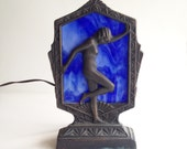 Art Deco Ting Shen Naked Woman Stained Glass Brass Lamp
