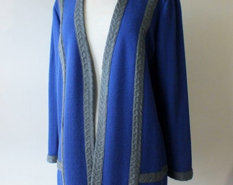 Vintage blue and grey cardigan + 80s knit jacket