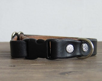 Adjustable Black Leather Cat Collar - Kitten to Large Cat Sizes - Safety Breakaway Leather Cat Collar