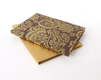 Gold & Brown Small Notebook Set, 2-Piece Unlined Hardcover Single Signature Travel Journals, Sketchbooks, Wedding Guestbook, His and Hers