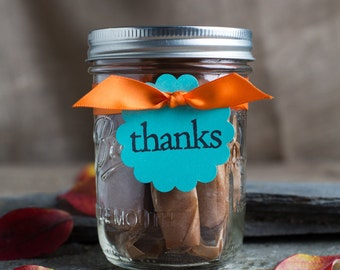 Thank you gift/teacher/co-worker/hostess/bridal party/Gift under 15/ 12 Maine Sea Salted Caramels in a mason jar