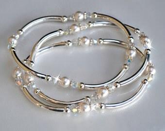Swarovski Crystal Pearl and Crystal Bangle Set