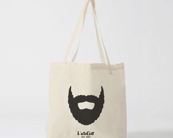 X242Y Tote bag man beard, bag canvas, cotton bag, tote bag, handbag, changing bag, shopping bag, computer bag, bag man