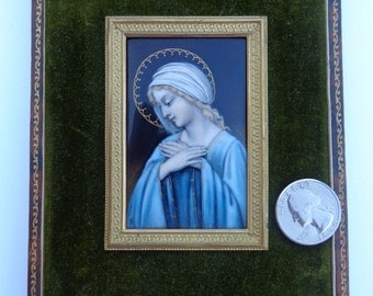 Lovely Victorian French Enamel Copper Madonna Virgin Mary Miniature Painting ! Authentic Original Hand Painted France