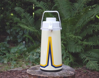 Vintage 1980s Pump Pot Insulated Thermos / Geometric Blue and Gold Design / Retro