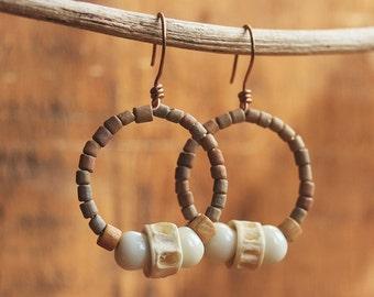 Cavegirl earrings, beaded hoops, Clay glass and bone, boho hoop earrings, jewellery for her, halloween cave girl, primitive, earth tone hoop