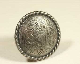 Fancy Western Knob - Old Silver